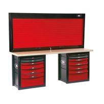 SAM OUTILLAGE - Établi d'atelier 12 tiroirs avec armoire à rideau -2012-PMAZ