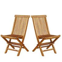 Bois Dessus Bois Dessous - Lot de 2 chaises de jardin en bois de teck huilé pliantes