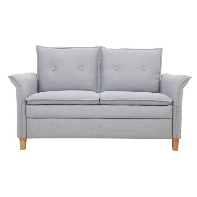 MILIBOO Canapé 2 places en tissu gris clair CLIFF