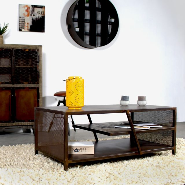 made in meubles table basse style industriel m tal finition rouille if762kt rouille essuyee. Black Bedroom Furniture Sets. Home Design Ideas