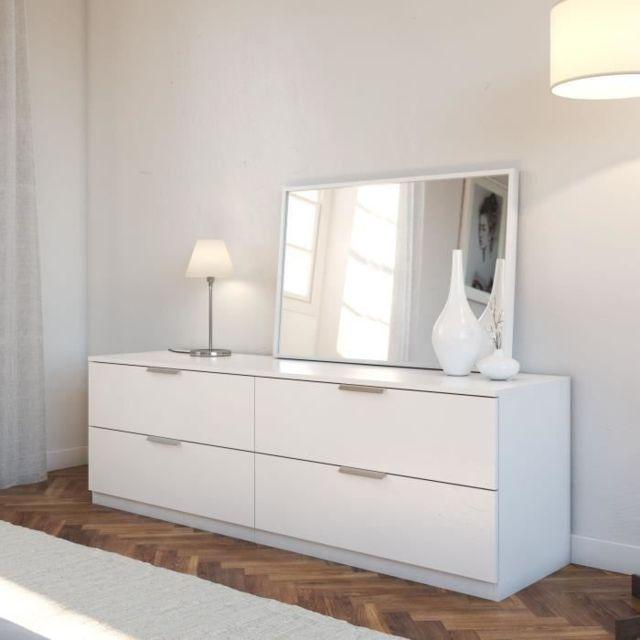 COMMODE DE CHAMBRE BILLUND Commode de chambre style contemporain mélaminé blanc - L 160 cm