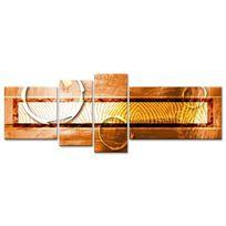 Hexoa - Ethnik Tableau multi panneaux 160x60 cm orange abstrait