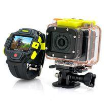 Shopinnov - Camera sportive WiFi Full Hd 1080P étanche Capteur Panasonic 16MP Angle ultra large 145° Contrôle via iPhone Android et Montre Télécommande