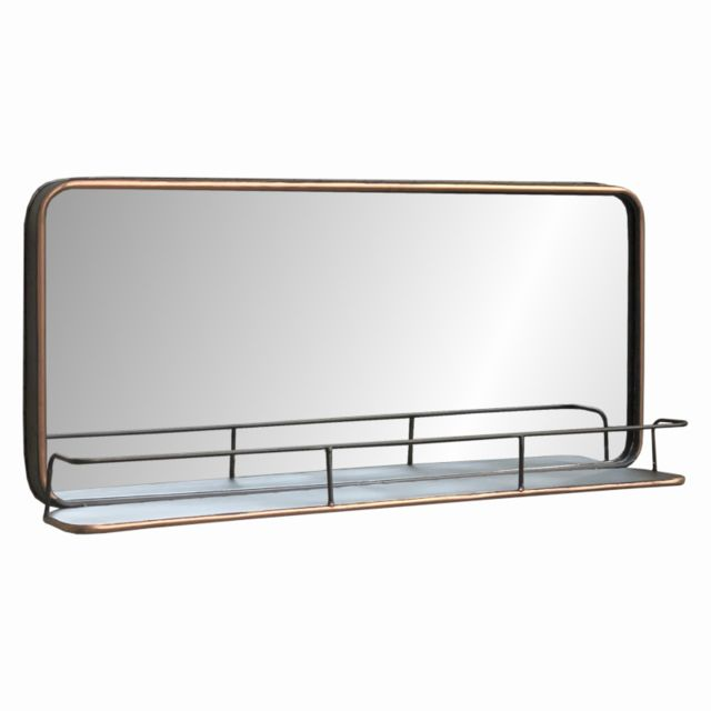 L'ORIGINALE Deco Miroir Industriel Tablette Étagère Mural Fer 91 cm x 40.50 cm x 13 cm