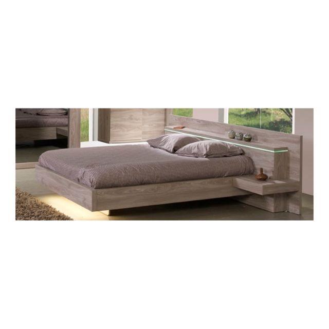 meubles thiry lit avec chevets int gr s jose ch ne gris 140cm x 200cm pas cher achat. Black Bedroom Furniture Sets. Home Design Ideas