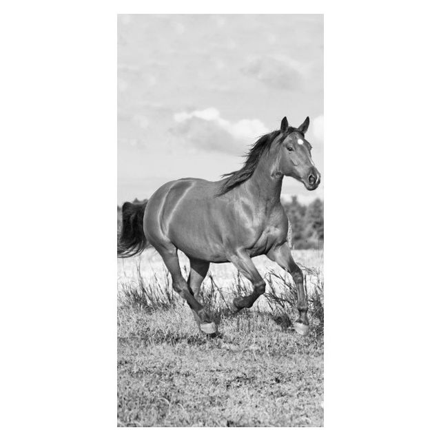 Home - Cheval Noir et Blanc - Serviette de Bain - Drap de Plage Coton 22f02dce2d9e