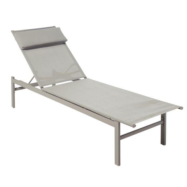 carrefour - bain de soleil - métal et textile - taupe - pas cher