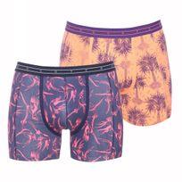Scotch And Soda - Lot de 2 boxers longs Scotch&Soda en coton stretch bleu marine à imprimés oiseaux rose fluo et orange pâle à imprimés violets