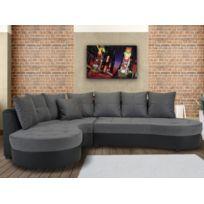 MARQUE GENERIQUE - Canapé d angle bimatière STEPHANIE - Bicolore noir et  gris - Angle 76218d372862