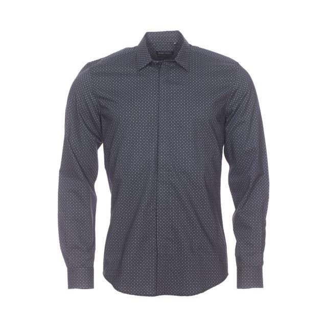 Antony Morato Chemise cintrée en coton noir à carreaux gris et petits ronds marron clair
