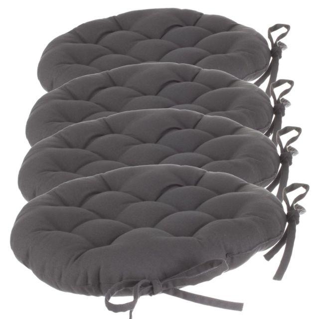 galette de chaise ronde lot de 4 d 38 cm gris fonc. Black Bedroom Furniture Sets. Home Design Ideas