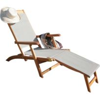 PROLOISIRS - Bain de soleil en bois et toile taupe