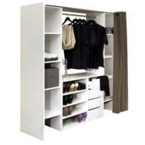 Inside 75 - Dressing extensible Chica 2 colonnes 4 tiroirs blanc avec rideau taupe