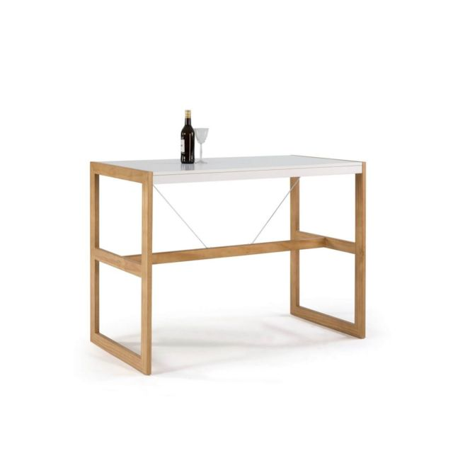 Bobochic Table bar Miami Blanc / Bois clair