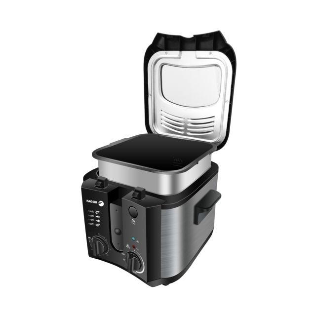 FAGOR Friteuse électrique - FGRC200 - Noir Puissance 1600 W - Capacité 2.5 L - 1 Kg de frites - Thermostat réglable - Timer 30 min - Parois en inox - Indicateur lumineux.