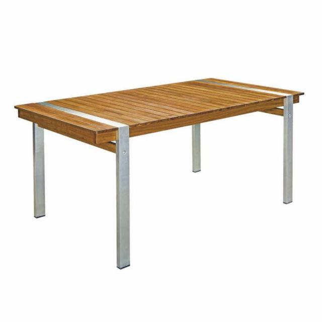 Tousmesmeubles Table de repas rectangulaire 160 cm Bois/Acier - Raivavae