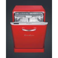 Schaub Lorenz - Sl14DWR Lave-Vaisselle 60 cm Rouge Vintage - Pose Libre - 14 couverts