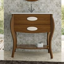 Stylo - Meuble sur pieds 2 tiroirs Classic Noyer 80 cm + vasque céramique