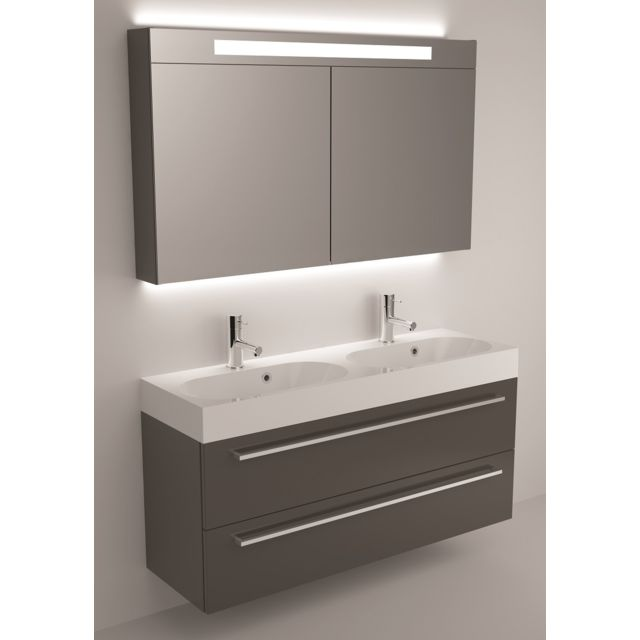 Riho Ensemble meuble & lavabo Slimline Set 77 en bois laqué brillant 120x38 H 60,5 cm