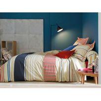 Francois Hans - Parure housse de couette + taies 100% coton rayure bayadère bleu/beige Sunset - 140x200cmNC