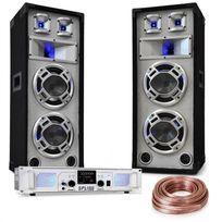 """ELECTRONIC STAR - Kit sono DJ """"White Noise"""" Ampli 2x500W enceinte de sono 600W câbles d'enceintes Electronic-Star"""