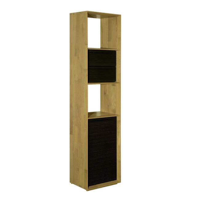 alina fine meuble tagre biseaute 3 cases en chne clair avec 1 porte et 2