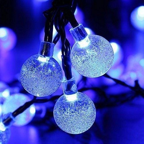 Guirlande Lumineuse Solaire 4 8m 20 Led Boules Etanche En Forme Sphère Cristal Décoration Extérieure Et Intérieure Bleu