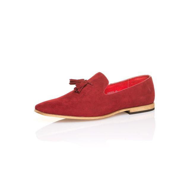 BLZ Jeans Chaussure de ville aspect daim rouge pour homme