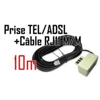 Cabling - Filtre Adsl prise Gigogne + Câble Rj11 de 10 mètres