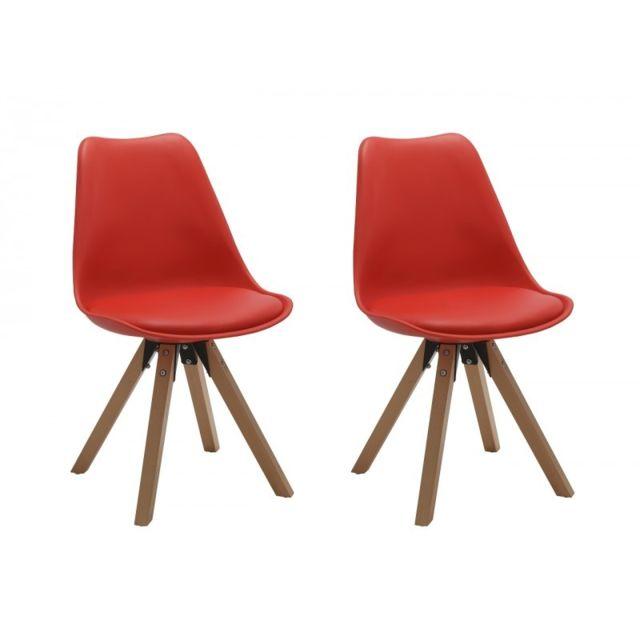 Autre Set de 2 chaises de salle à manger design simili-cuir rouge pieds bois Cds09028