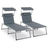 BLUMFELDT - Amalfi Set transat 2 chaises longues rembourrées Tubes d'acier - gris