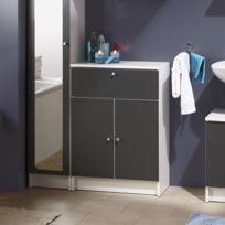 Paris Prix - Élément de salle de bain équipé de 2 portes + tiroir + rayon