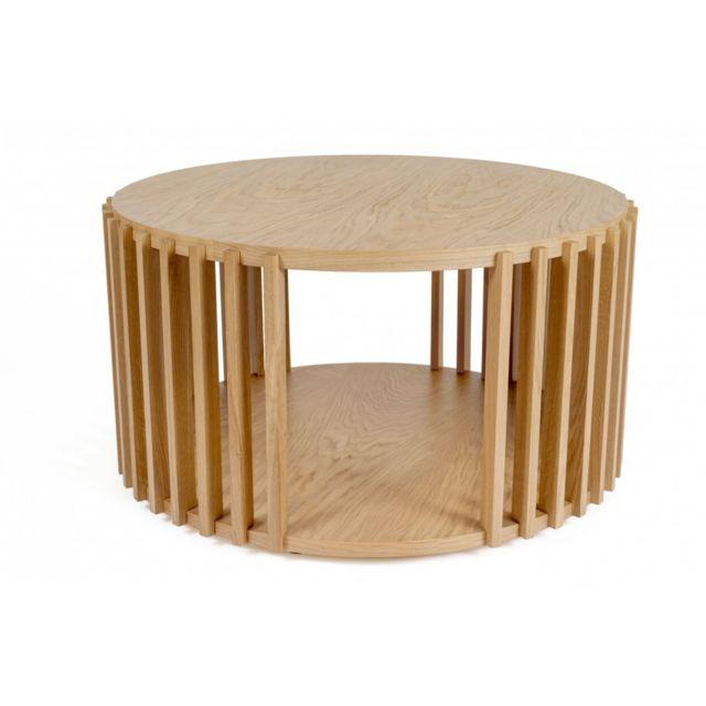 HELLIN Table basse ronde en bois - DUBLIN