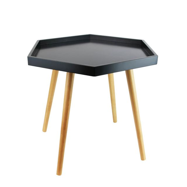 The Concept Factory Table basse noire avec plateau hexagonal