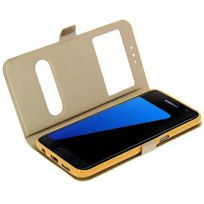 Cabling - Samsung Galaxy S7 Edge 5,5'' Housse Etui de Protection en Cuir Pu pour Galaxy S-7 Edge avec une Fermeture à Clapet et double fenêtre - or