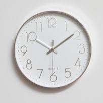Horloge murale argent Salle de bureau à la maison Moderne Silencieuse Non  Tic-tac 12 pouces ronde décorative Quartz