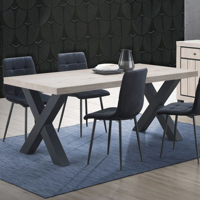 Sofamobili Table à manger 190 cm couleur bois naturel Eugenia