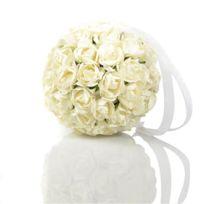 Atmosphera - Boule de roses artificielles - Diam. 9 cm - Blanc