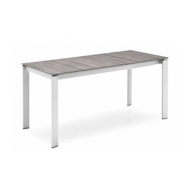 Inside 75 Table repas extensible Emir 130x90 melamine gris pietement acier satine