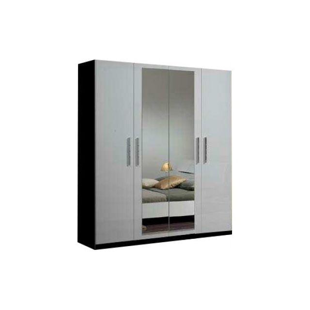 Decodesign Armoire 4 portes Gloria Noir-Blanc