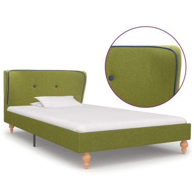 Uco Cadre de lit Vert Tissu 90 x 200 cm