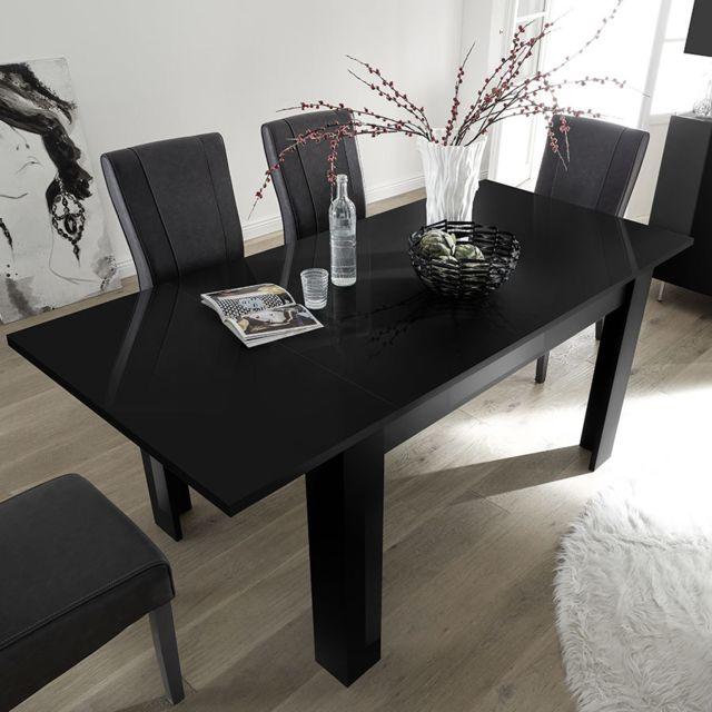Sofamobili Table extensible 140 cm noir laqué design Rosini