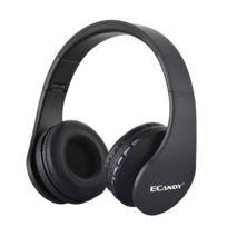 Casque Pliable 4 En 1 Casque Bluetooth Sans Fil Sport Anti Bruit Avec Micro Soutien Tf Radio Fm Noir
