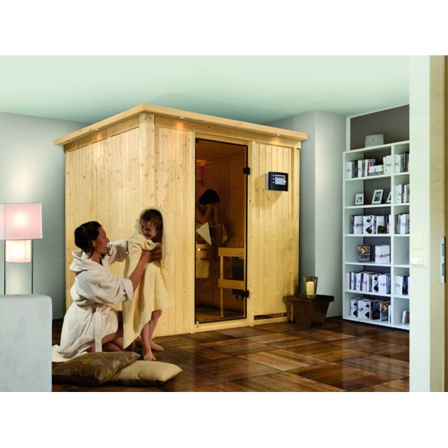 karibu sauna traditionnel sodin 68 mm 196 x 170 x 198 cm pas cher achat vente saunas. Black Bedroom Furniture Sets. Home Design Ideas