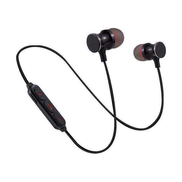 Ecouteurs Bluetooth Metal pour HTC U11 Smartphone Sans Fil Telecommande Son Main Libre INTRA AURICULAIRE Universel NOIR