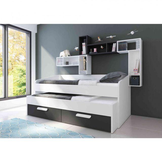 TERRE DE NUIT Lit compact en bois blanc et anthracite 90x190 - LT9015