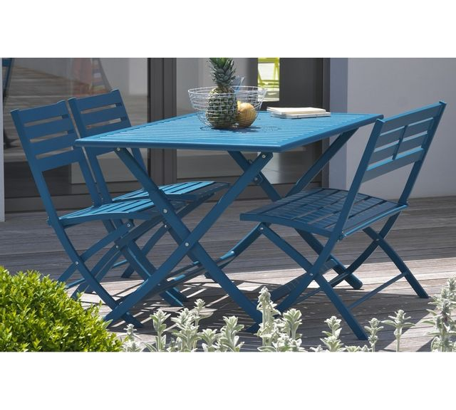 Dcb Garden Table pliante en aluminium bleu