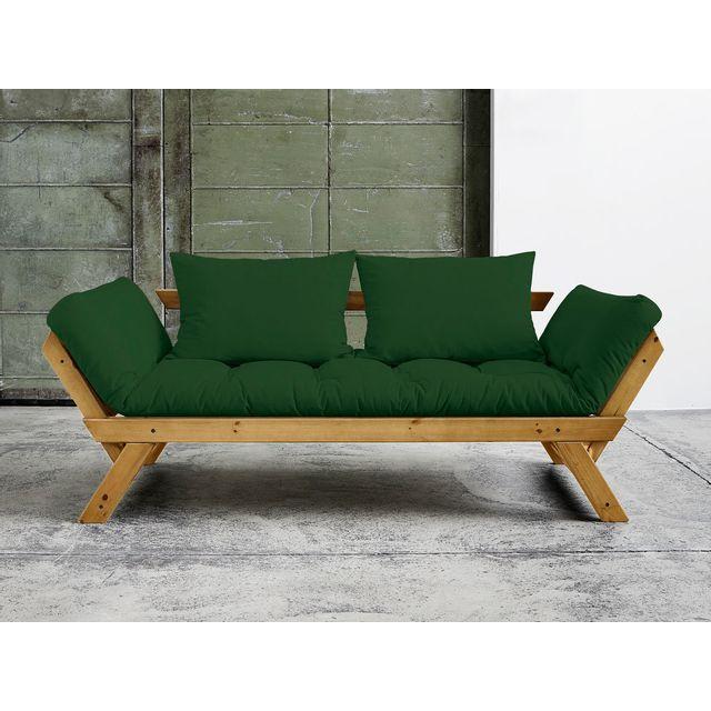 Karup - Canapé convertible en bois miel avec matelas futon Bebop - Vert bouteille 0cm x 0cm x 0cm - Nc
