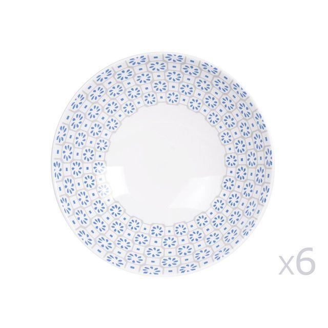 table passion assiette creuse en gr s motif ethnique bleu gris lot de 6 pi ces. Black Bedroom Furniture Sets. Home Design Ideas