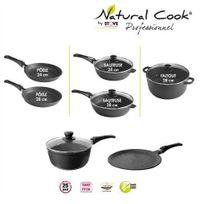 Natural Cook Professionnel - Lot 2 poêles 24,28 2 sauteuses 24,28 1 faitout 28, casserole 20 et crêpière tous feux